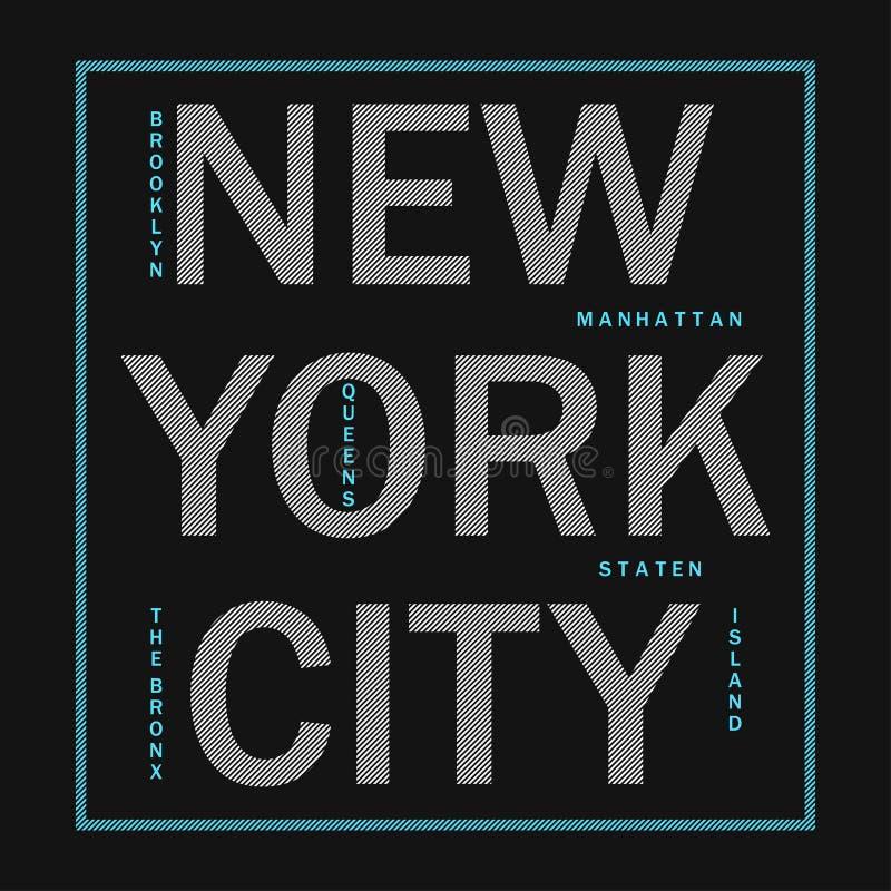 Miasto Nowy Jork - nowożytna typografia dla projekta odziewa, sportowa koszulka Grafika dla druku produktu, odzież Odznaka dla sp royalty ilustracja