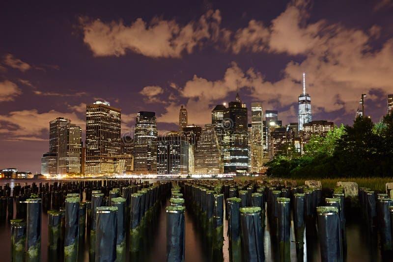 Miasto Nowy Jork panorama przy nocą manhattan noc obraz stock