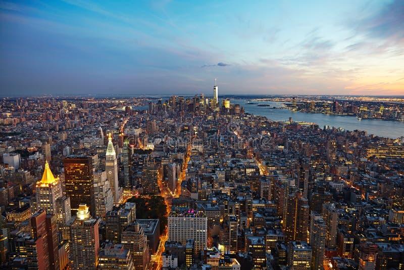 Miasto Nowy Jork panorama przy nocą manhattan noc zdjęcia stock