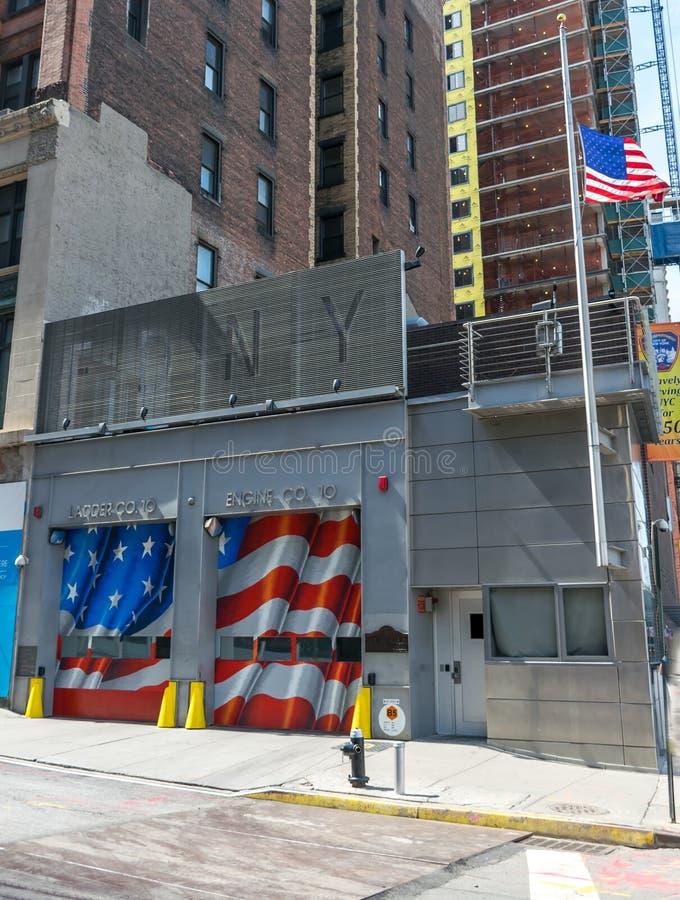 Miasto Nowy Jork Pożarniczy dział Drabina Firma 10 zdjęcie stock