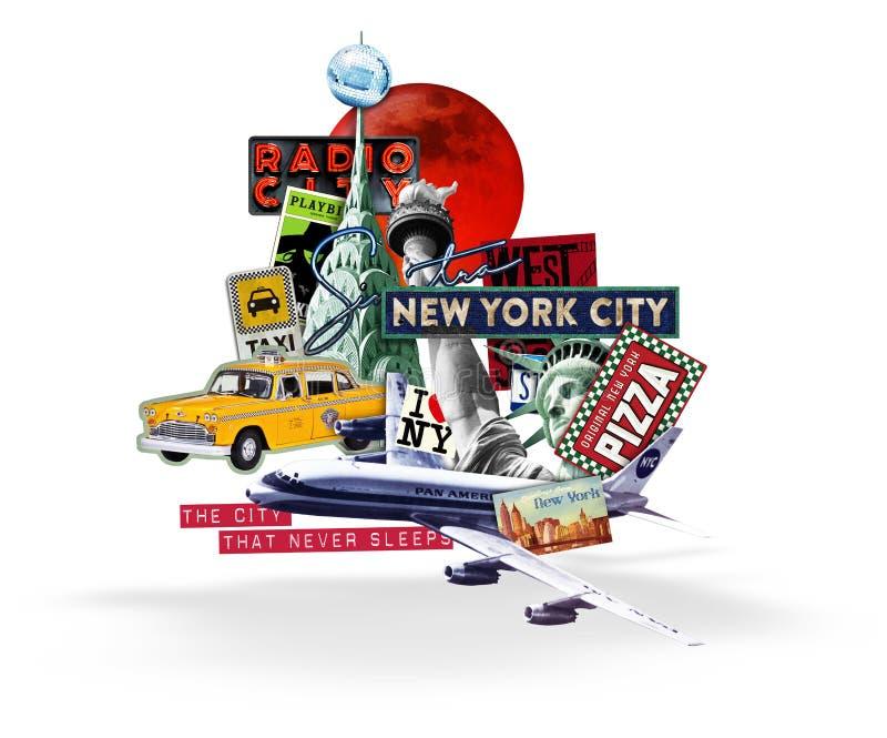 Miasto Nowy Jork podróży kolażu bielu tło ilustracja wektor
