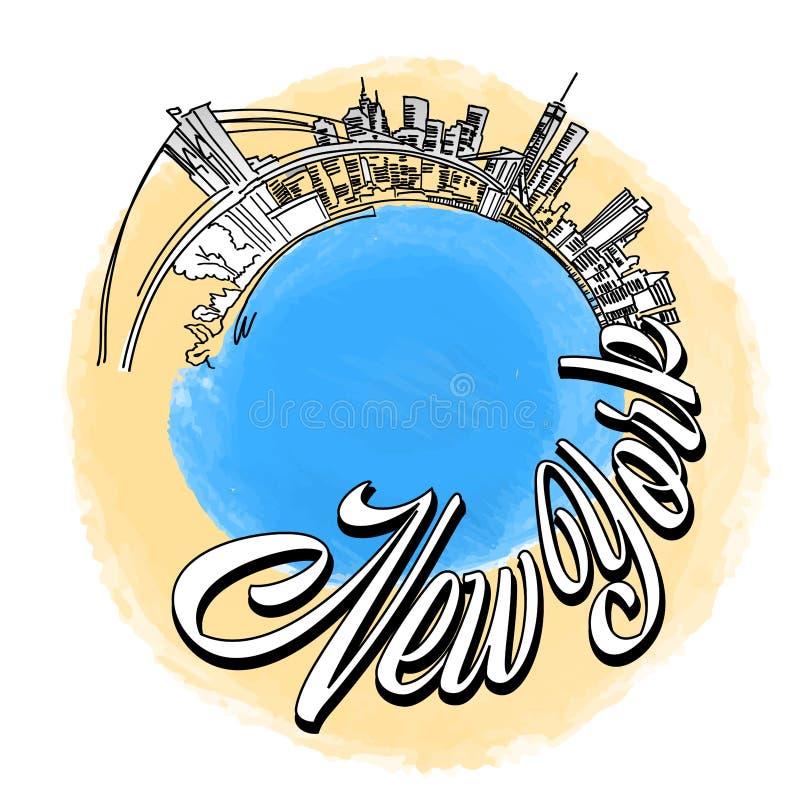 Miasto Nowy Jork podróży logo ilustracji