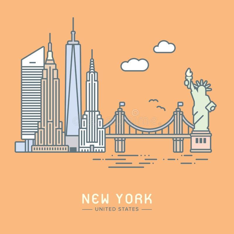 Miasto Nowy Jork punktów zwrotnych płaska wektorowa ilustracja ilustracja wektor