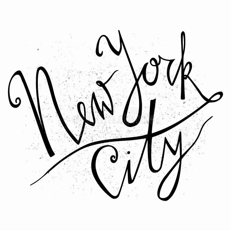 miasto nowy Jork Ręka rysujący typografia plakat Typograficzny druku plakat T koszulowej ręki wytłoczony kaligraficzny projekt ilustracja wektor