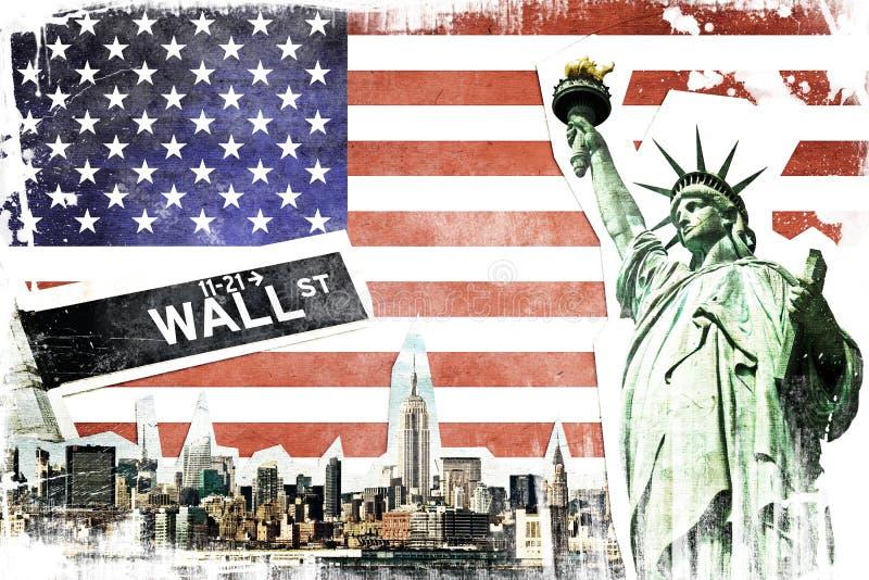 Miasto Nowy Jork rocznika kolaż ilustracji