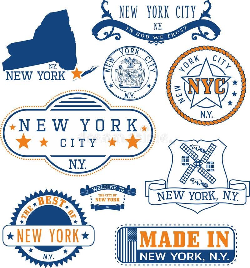 Miasto Nowy Jork, rodzajowi znaczki i znaki, ilustracja wektor