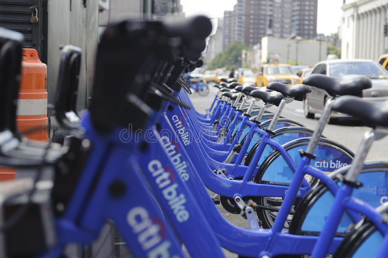 Miasto Nowy Jork Roweru Udzielenia Stacja Zdjęcie Editorial