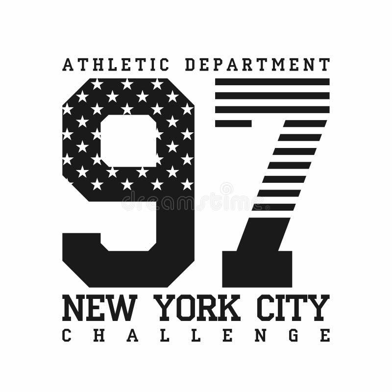Miasto Nowy Jork, sportowy dział, flaga amerykańskiej koszulki projekt, typografia dla koszulek grafika royalty ilustracja