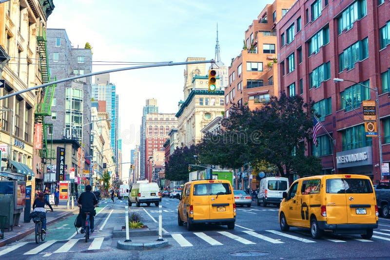 Miasto Nowy Jork Stany Zjednoczone, Listopad, - 3, 2017: Widok Manhattan alei dam Milowy Historyczny okręg fotografia stock