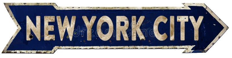 Miasto Nowy Jork Streetsign strzała rocznik fotografia stock