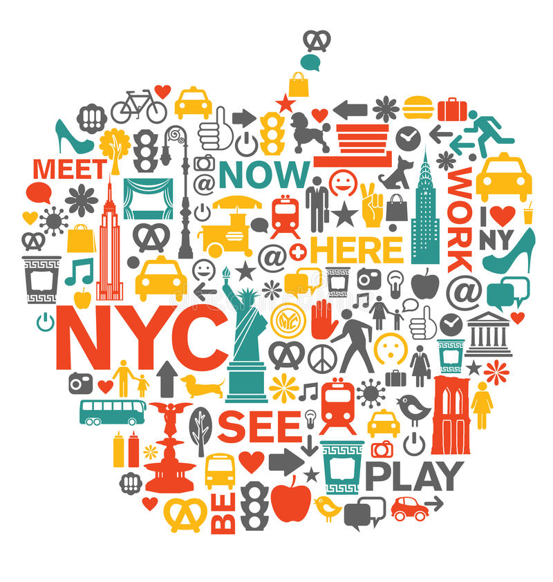 Miasto Nowy Jork symbole i ikony ilustracji
