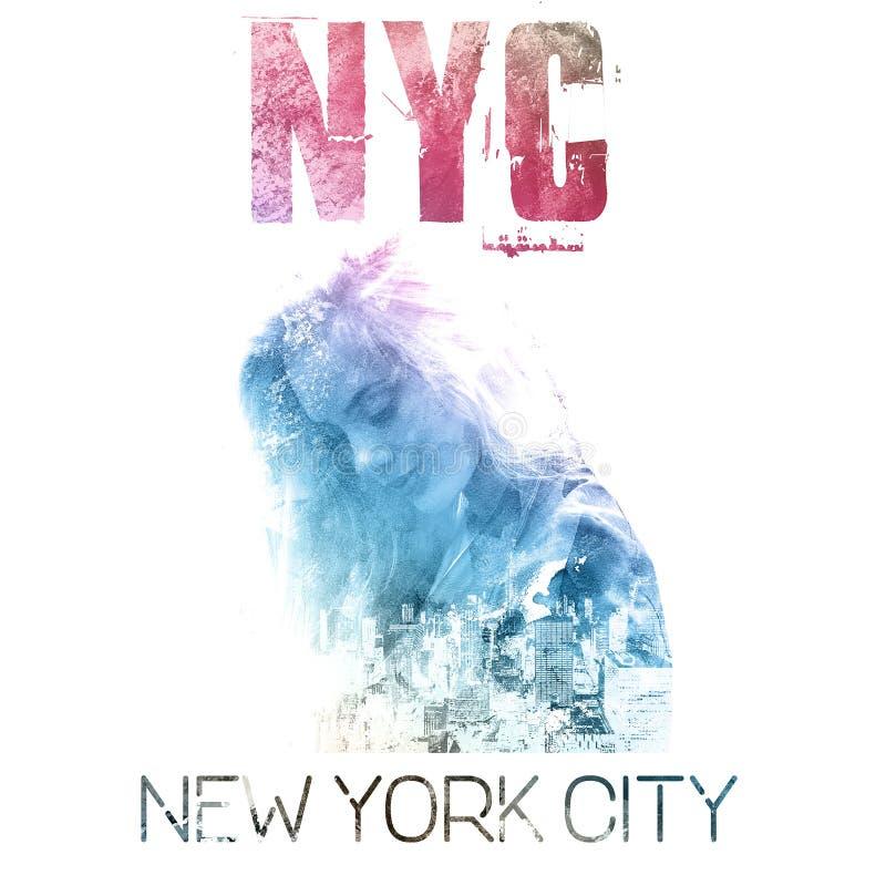 Miasto Nowy Jork sztuka Uliczny grafika styl NYC z dziewczyna portretem royalty ilustracja