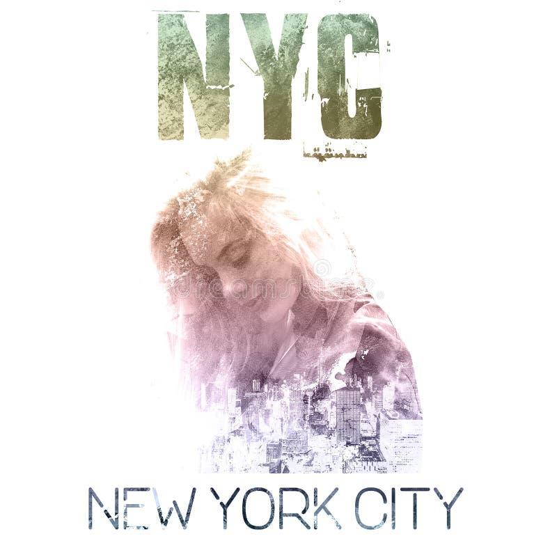 Miasto Nowy Jork sztuka Uliczny grafika styl NYC z dziewczyna portretem Moda elegancki druk Szablon odzież, etykietka, plakat, sz ilustracja wektor