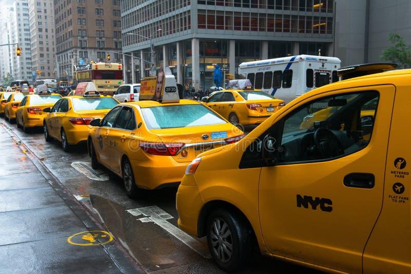 Miasto Nowy Jork taxi taksówki stojak obraz stock