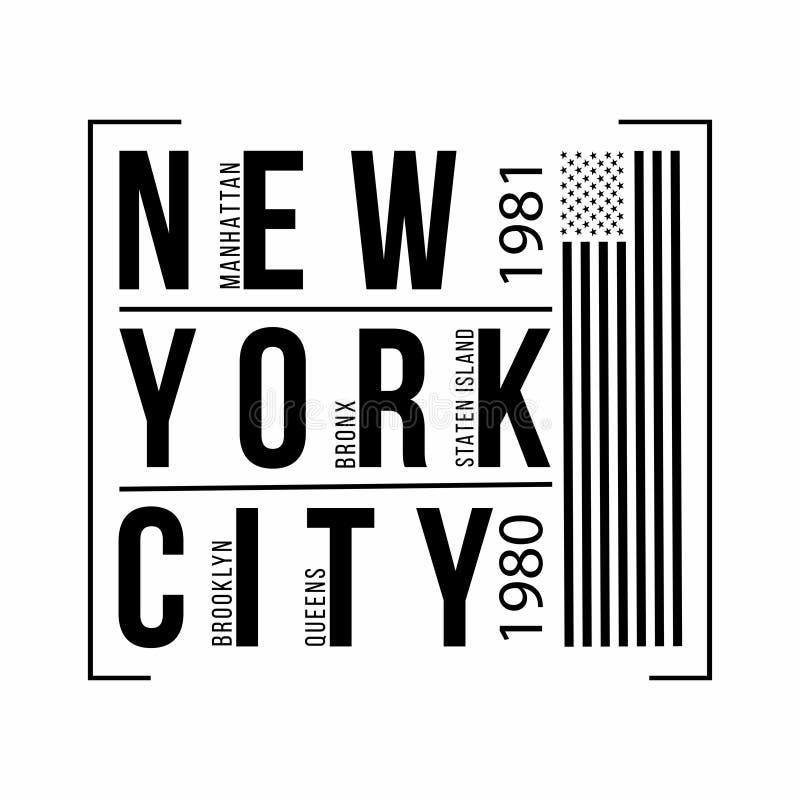 Miasto Nowy Jork typografia dla koszulka druku amerykańska flaga Koszulek grafika ilustracja wektor