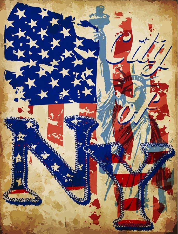 Miasto Nowy Jork Typograficzny projekt royalty ilustracja