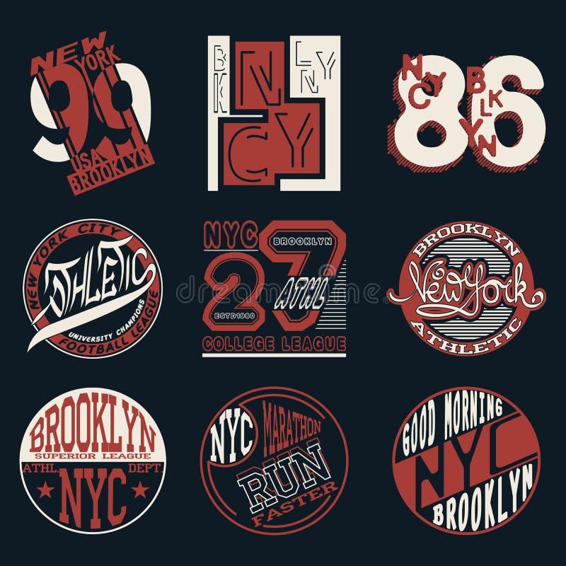 Miasto Nowy Jork typografii grafika loga set, royalty ilustracja