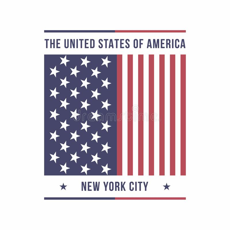 Miasto Nowy Jork, usa typografia dla koszulka druku amerykańska flaga Koszulek grafika ilustracja wektor