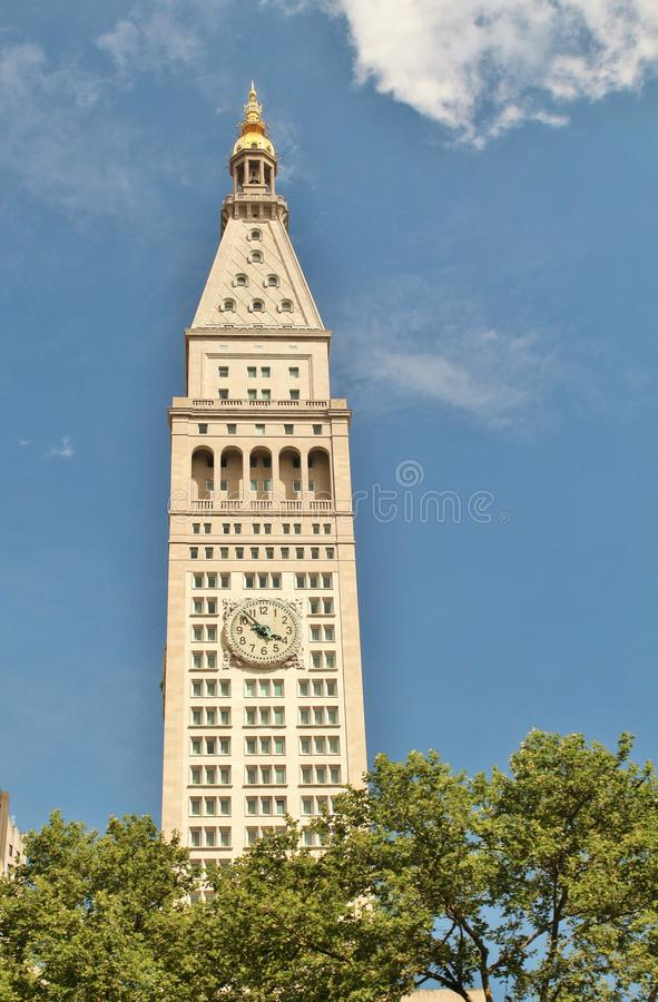 Miasto Nowy Jork w NY, usa Czerwiec 19, 2017 - NY miasta ` s ubezpieczenie na życie Wielkomiejski wierza uzupełniał w 1909 - fotografia stock