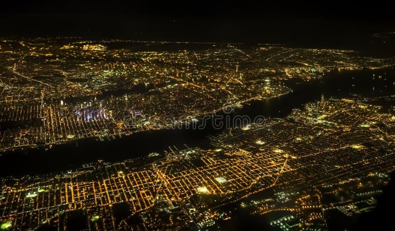 Miasto Nowy Jork widok z lotu ptaka w nocy fotografia stock