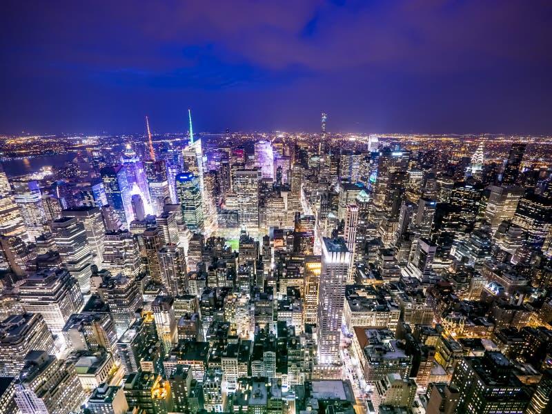 Miasto Nowy Jork zmierzchu opóźniona linia horyzontu zdjęcia stock