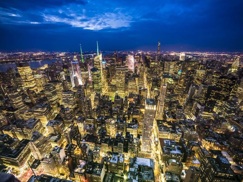 Miasto Nowy Jork zmierzchu opóźniona linia horyzontu obraz royalty free