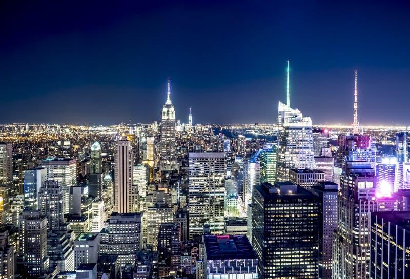 Miasto Nowy Jork zmierzchu opóźniona linia horyzontu obraz stock