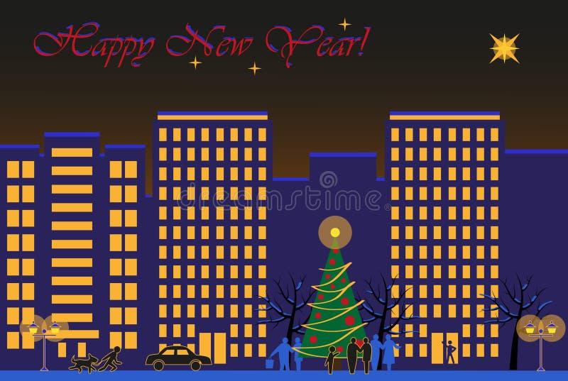 miasto nowy rok ilustracja wektor
