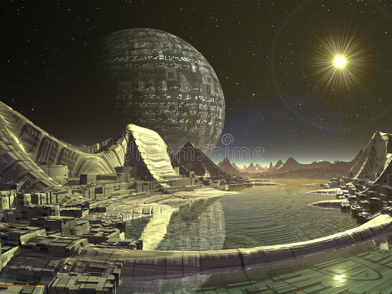miasto obca satelita ilustracji