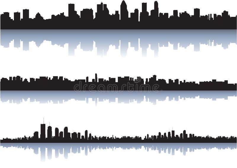 miasto odbija linia horyzontu wodę ilustracji
