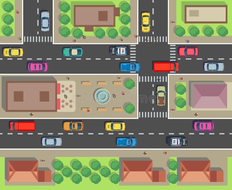 Miasto odgórny widok Budynek i ulica z samochodami i ciężarówkami Miastowego ruchu drogowego wektorowa mapa ilustracji