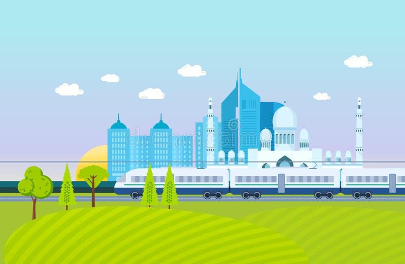 Miasto, otoczenia krajobraz, pola i gospodarstwa rolne, metro, budynki, struktury ilustracji