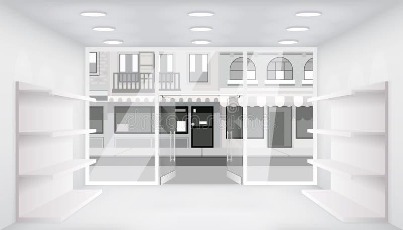Miasto otwarte drzwich sklepu wnętrza 3d sklepu półek przestrzeni ulicznego pustego handlowego światła realistyczni okno interlin ilustracja wektor