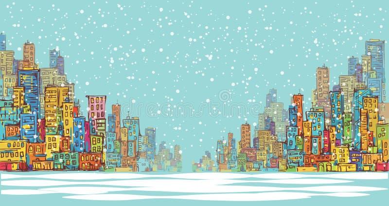 Miasto panorama, zima śniegu krajobraz w świetle dziennym, ręka rysujący pejzaż miejski, wektorowa rysunkowa architektury ilustra royalty ilustracja