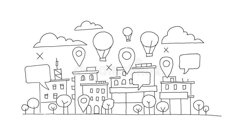 Miasto panoramy nakreślenie Szybko się zwiększać w niebie, geolocation markierach i bąblu, Infographic wektoru ręka rysujący zapa ilustracji