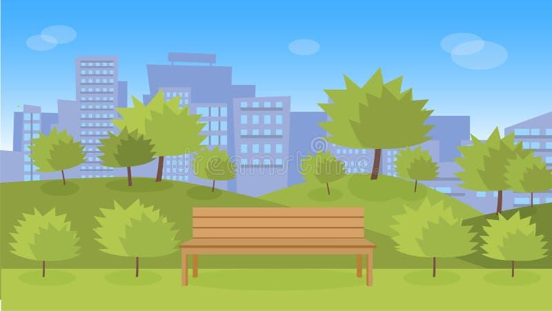 Miasto park z drewnianą ławką ilustracja wektor