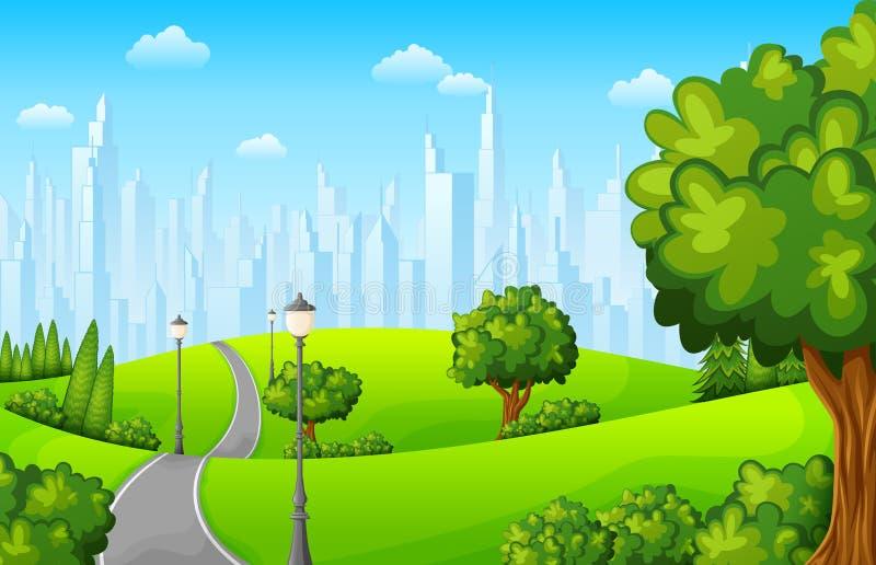 Miasto park z drogowymi i grodzkimi budynkami ilustracja wektor