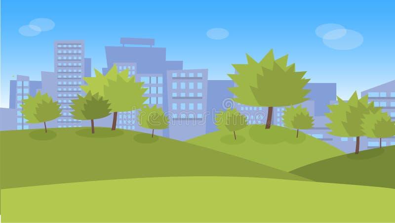 Miasto park z gazonami i drzewami ilustracji