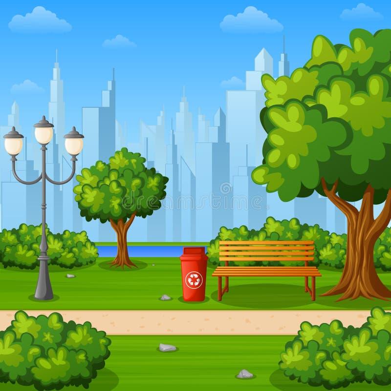 Miasto parkowa ławka z drzewami i grodzkimi budynkami ilustracji