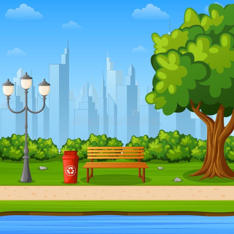 Miasto parkowa ławka z zielonym drzewem i streetlight blisko brzeg rzeki ilustracji