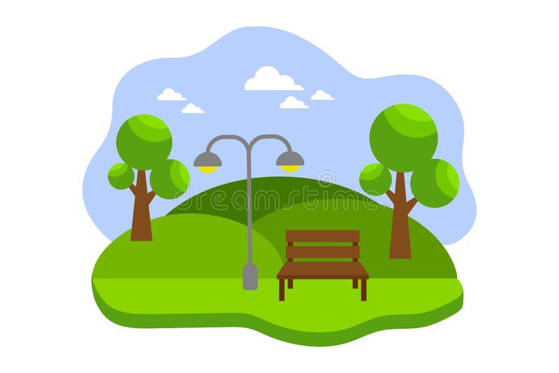 Miasto parkowa wektorowa ilustracja z ławką, drzewa, rośliny w płaskim projekcie zielony krajobraz dzia?alno?? plenerowe ilustracji