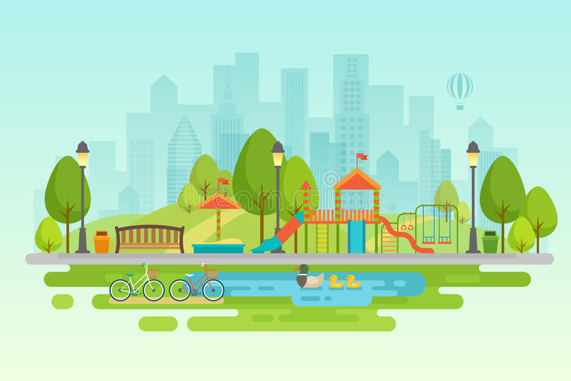 Miasto parkowy Miastowy plenerowy wystrój, elementów parki i aleje, royalty ilustracja
