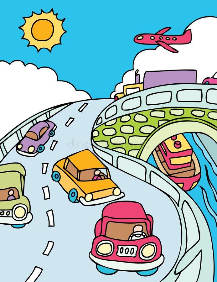 miasto podróżnicy royalty ilustracja
