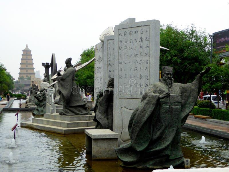 Miasto postaci rzeźba obrazy royalty free