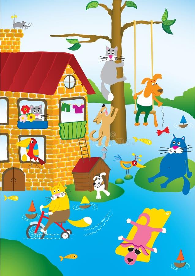 miasto powodzi, zwierzęta domowe ilustracja wektor