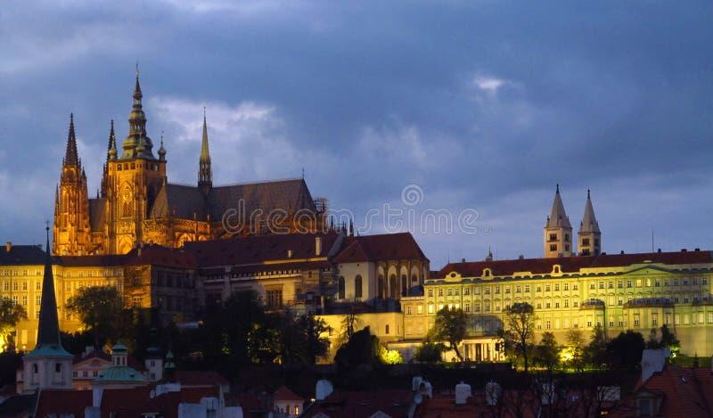Miasto Prag nocy scena fotografia stock