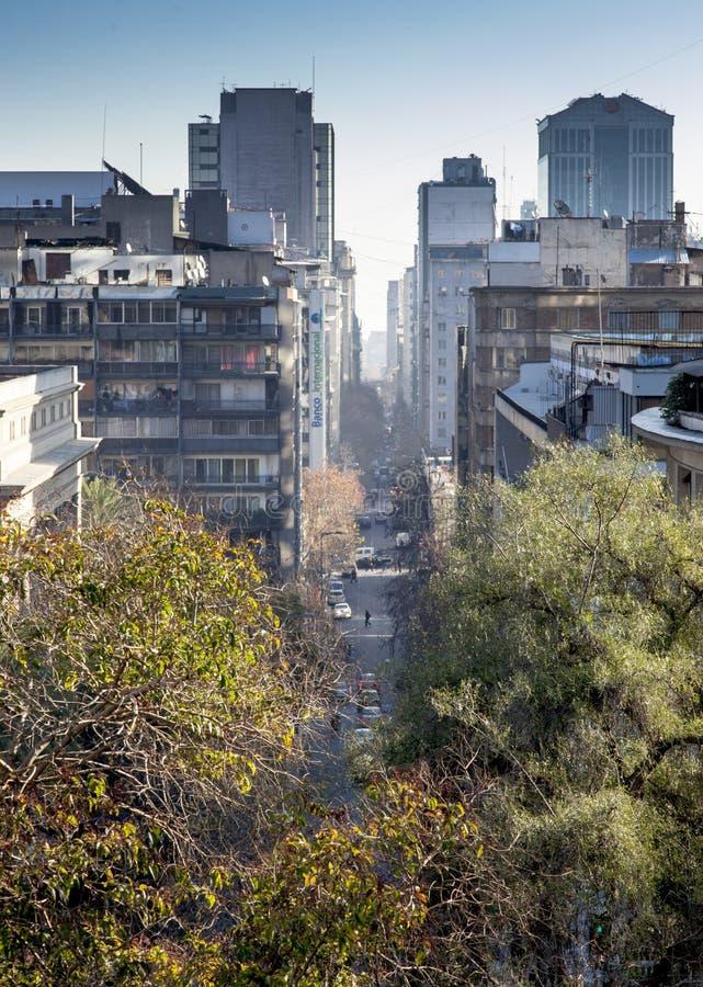 Miasto przeglądać od Santa Lucia wzgórza, Santiago, Chile obrazy royalty free
