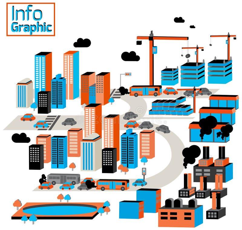Miasto przemysłowy i zanieczyszczenie z budynkami, fabryka, constr ilustracja wektor