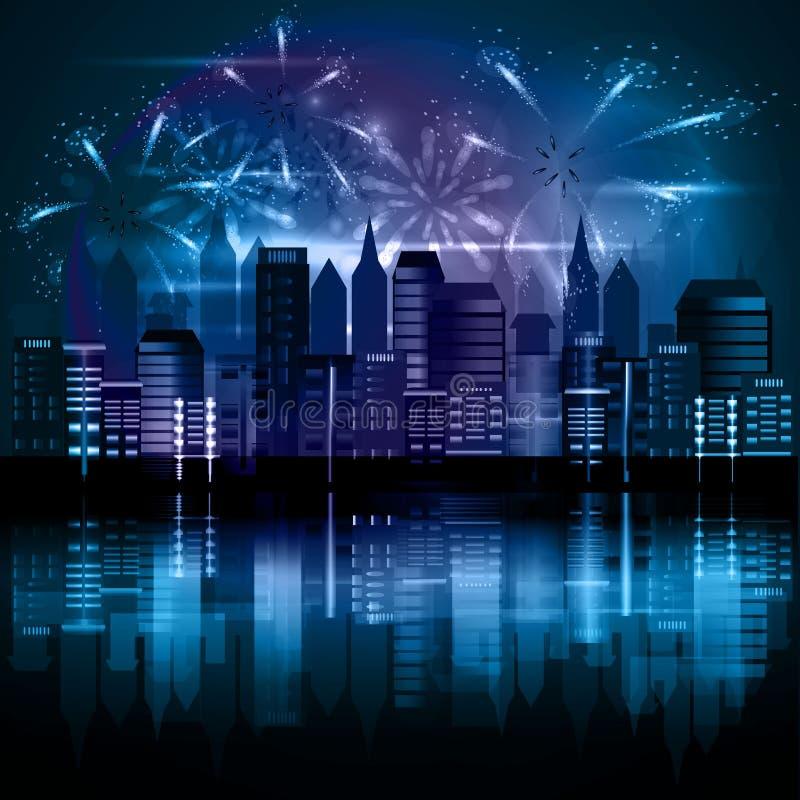 Miasto przy nocą z fajerwerkami zdjęcia stock