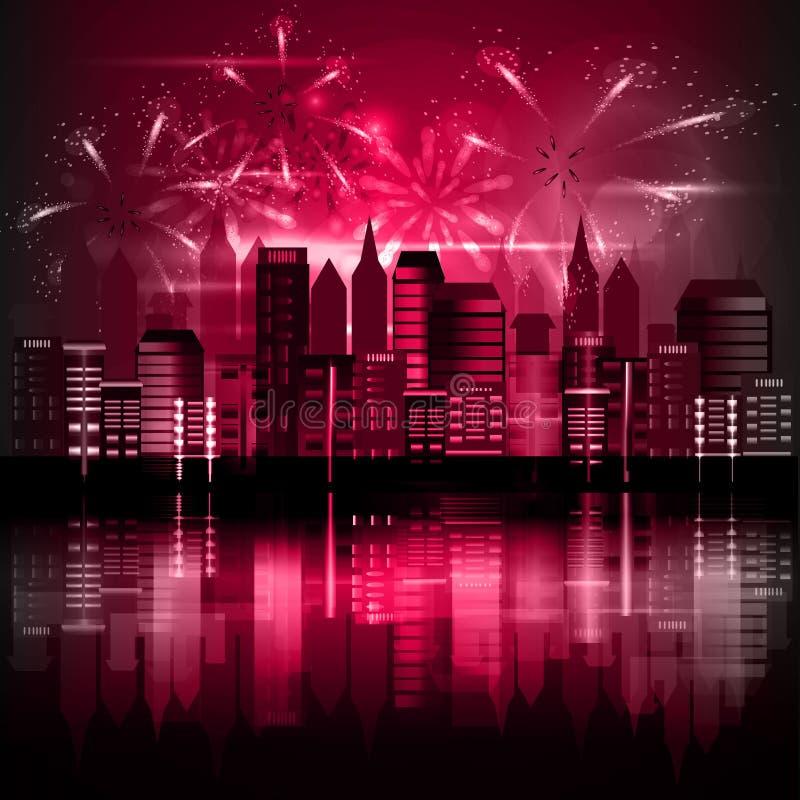 Miasto przy nocą z fajerwerkami obrazy royalty free